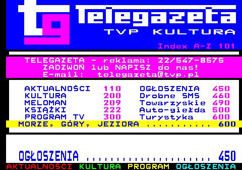 Telegazeta TVP Kultura – strona 100, podstrona 1 z 1
