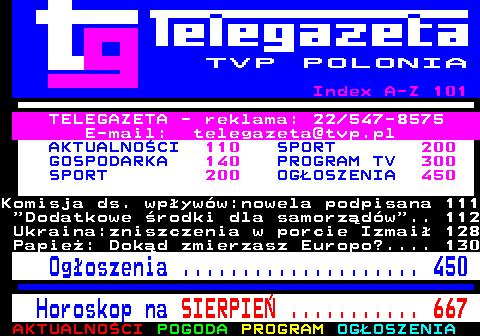 Telegazeta TVP Polonia – strona 100, podstrona 1 z 6