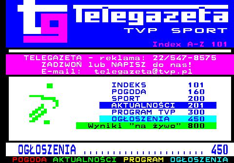 Telegazeta TVP Sport – strona 100, podstrona 1 z 1