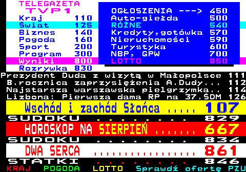 Telegazeta TVP 1 – strona 100, podstrona 7 z 16
