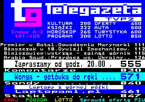 Telegazeta TVP 2 – strona 100, podstrona 1 z 16