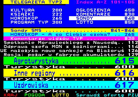 Telegazeta TVP 2 – strona 100, podstrona 15 z 16